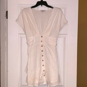 Showpo white linen dress